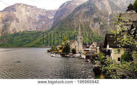 Scenic view of famous Hallstatt mountain village in the Austrian Alps