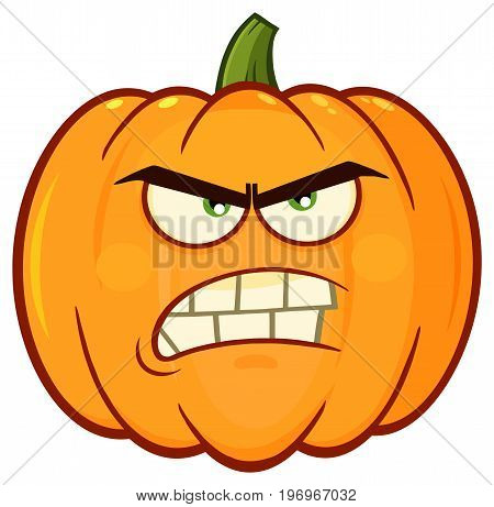 Angry Orange Pumpkin Vegetables Cartoon Emoji Face Character With Grumpy Expression. Illustration Isolated On White Background