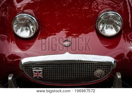 BERLIN - MAY 10 2015: Fragment of a sports car Austin-Healey Sprite Mk I. 28th Berlin-Brandenburg Oldtimer Day