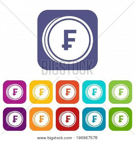 Franc coins icons set vector illustration in flat style in colors red, blue, green, and other