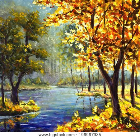 Original oil painting autumn gold trees and Green Pine Tree on shore against the backdrop of blue mountain river. Beautiful sunny mountain landscape. Modern impressionism painting art.