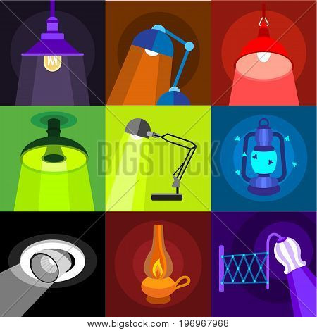 Lighting icons set. Flat set of 9 lighting vector icons for web with long shadow