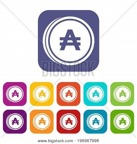 Coin austral icons set vector illustration in flat style in colors red, blue, green, and other