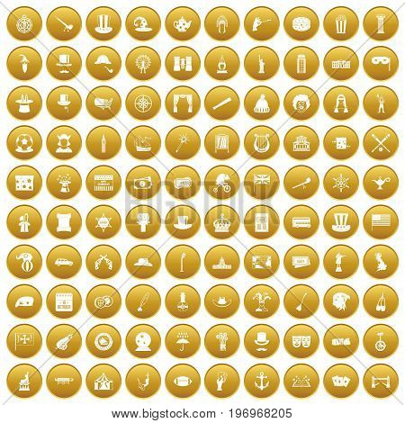 100 top hat icons set in gold circle isolated on white vector illustration