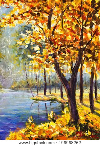 Original oil painting autumn orange gold Tree on shore against the backdrop of blue mountain river. Beautiful landscape. Modern impressionism painting art.