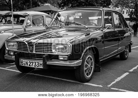 BERLIN - MAY 10 2015: Large family car Renault 16TL. Black and white. 28th Berlin-Brandenburg Oldtimer Day