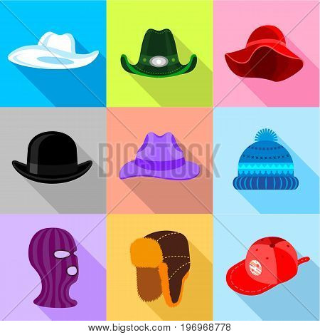 Different hat icons set. Flat set of 9 different hat vector icons for web with long shadow