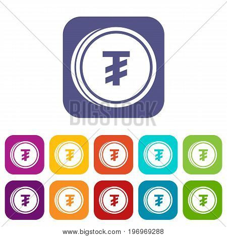 Tugrik coin icons set vector illustration in flat style in colors red, blue, green, and other