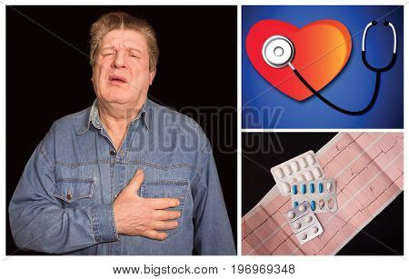 Portrait of old man suffering chest pain on black background. The stethoscope and a heart on blue. Medicine and health care concept. Collage