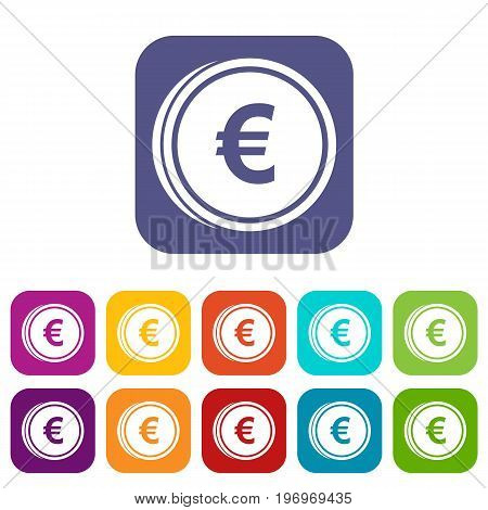 Euro coins icons set vector illustration in flat style in colors red, blue, green, and other
