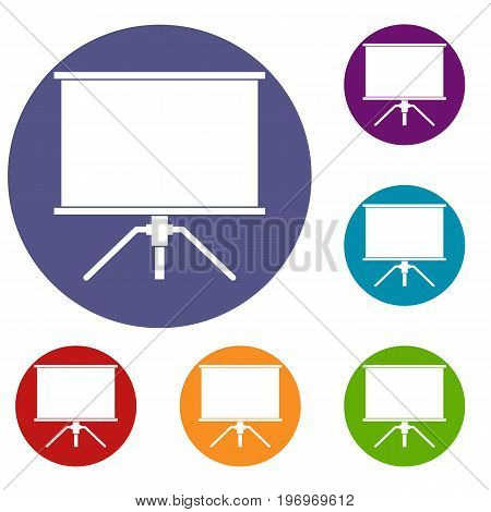 Blank projection screen icons set in flat circle red, blue and green color for web