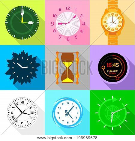 Watch face icons set. Flat set of 9 watch face vector icons for web with long shadow