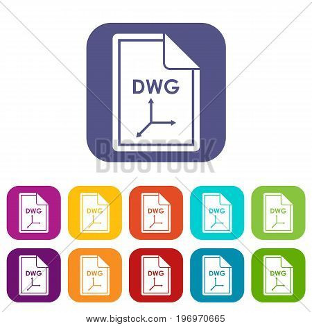 File DWG icons set vector illustration in flat style in colors red, blue, green, and other