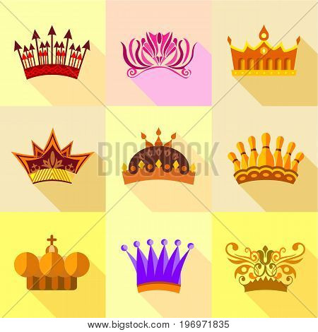 Royal crown icons set. Flat set of 9 royal crown vector icons for web with long shadow