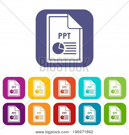 File PPT icons set vector illustration in flat style in colors red, blue, green, and other