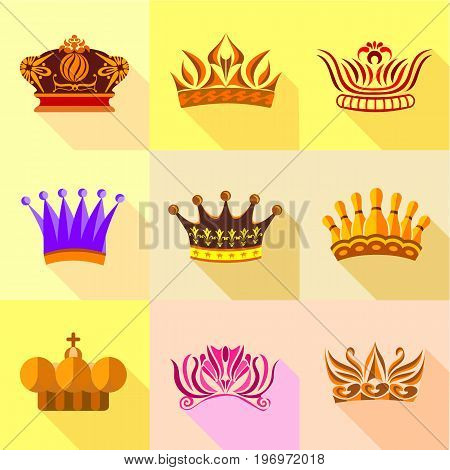 Princess crown icons set. Flat set of 9 princess crown vector icons for web with long shadow