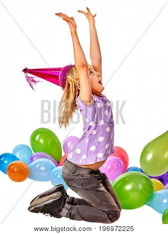 Break birthday school for small student in preschool class. Physical education of little girl in party hat playing with balloon.