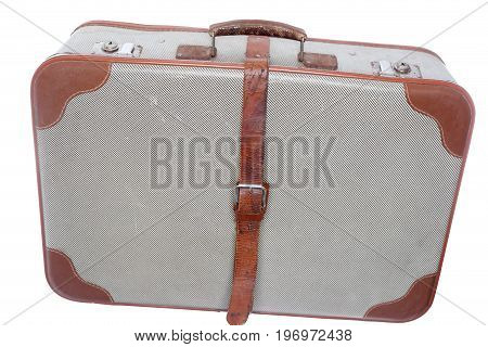 used old travel case on white background