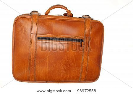brown used leather case on white background