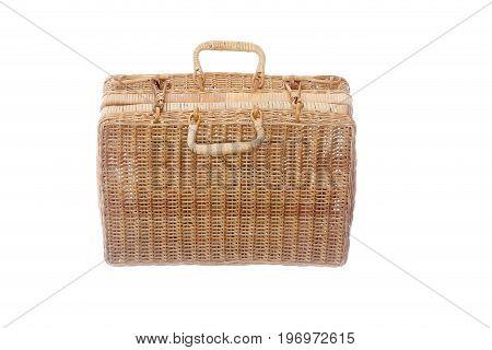 old basket case isolated on white background