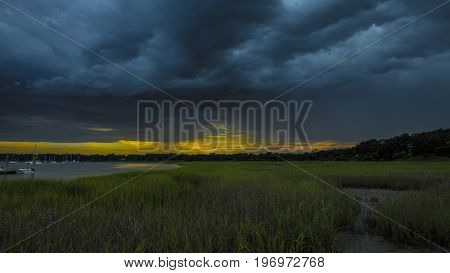 Angry storm clouds passing over the coast of South Carolina