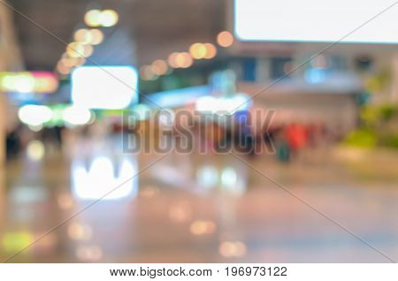Blurred hallway of airport terminal as background