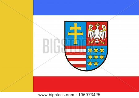Flag of Swietokrzyskie Voivodeship Swietokrzyskie Province or Holy Cross Province in central Poland. Vector illustration