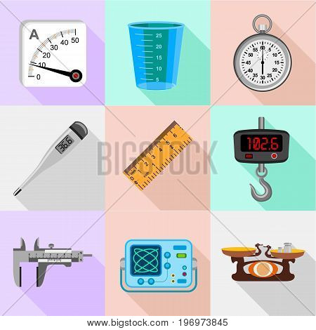 Scales icons set. Flat set of 9 scales vector icons for web with long shadow