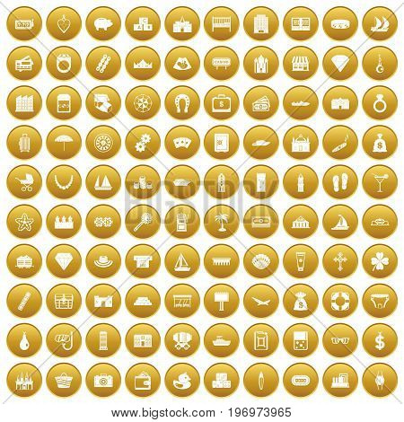 100 wealth icons set in gold circle isolated on white vector illustration