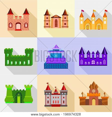 Types of fortress icons set. Flat set of 9 Types of fortress vector icons for web with long shadow