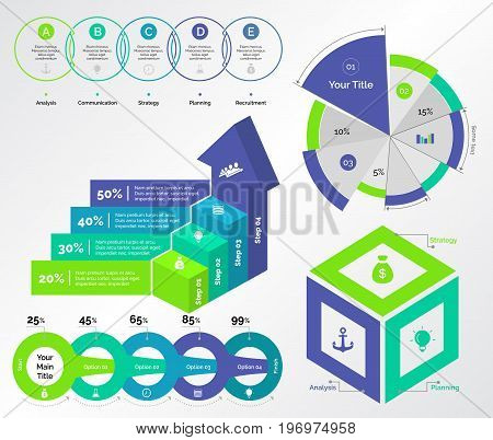 Infographic design set can be used for workflow layout, diagram, annual report, presentation, web design. Business and analyzing concept with process, pie, bar and percentage charts.