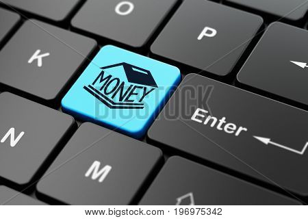 Money concept: computer keyboard with Money Box icon on enter button background, 3D rendering
