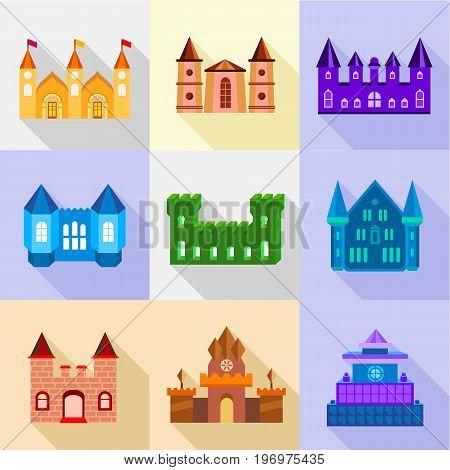 Fortress and bastion icons set. Flat set of 9 fortress and bastion vector icons for web with long shadow