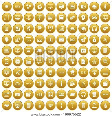 100 website icons set in gold circle isolated on white vector illustration