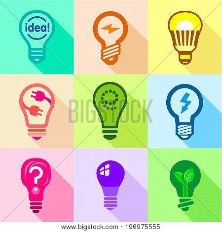 Types of creative bulbs icons set. Flat set of 9 types of creative bulbs vector icons for web with long shadow