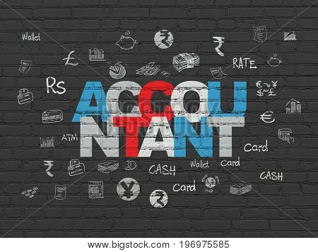 Banking concept: Painted multicolor text Accountant on Black Brick wall background with  Hand Drawn Finance Icons