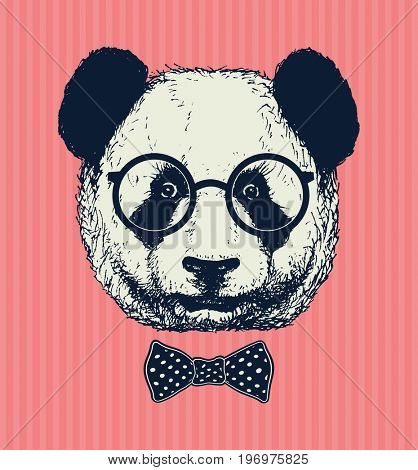 Hand drawn panda with sunglasses and bow tie. Jpeg version.