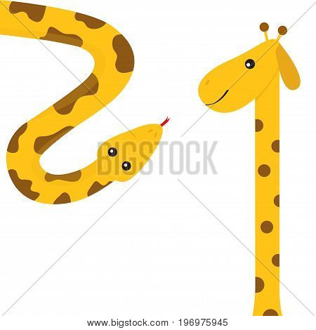 Giraffe with spot. Long neck. Yellow python snake red tongue. Crawling serpent. Zoo animal friends. Cute cartoon funny card for kids. Isolated. White background Flat design. Vector illustration