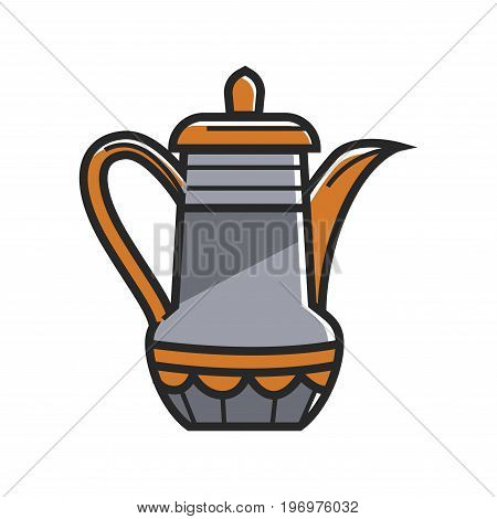 Vector illustration of teapot in orange and gray color isolated on white.
