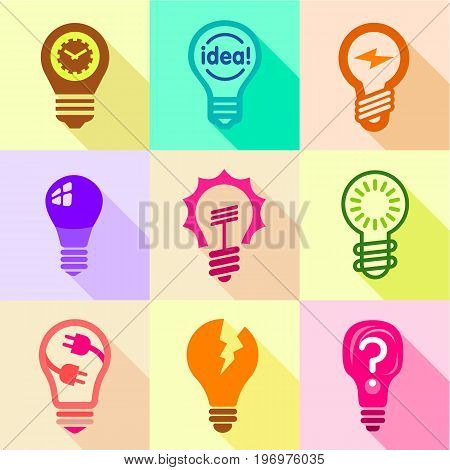 Different bulbs with pictogram icons set. Flat set of 9 different bulbs with pictogram vector icons for web with long shadow