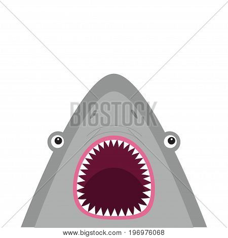Shark head face with big open mouth and sharp teeth. Cute cartoon animal character. Baby card. Sea ocean wild animal. Sticker print template. Flat design. White background Isolated Vector illustration