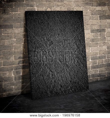 Blank Black Rough Stone Block On The Grunge Brick Wall And Black Cement Floor,mock Up To Display Or