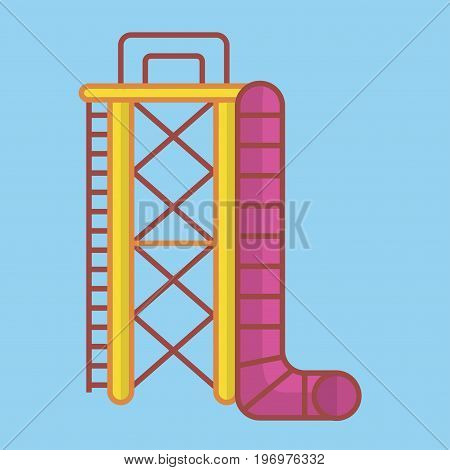 Vector illustration of big aquapark slide and ladder on blue background.