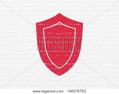 Privacy concept: Painted red Shield icon on White Brick wall background