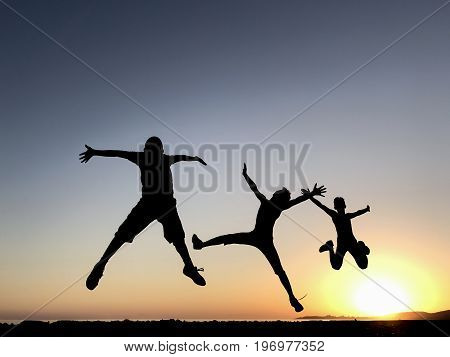 Energetic and healthy young people & jumping
