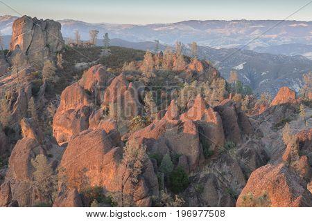 High Peaks Golden Hour. Pinnacles National Park, California, USA.