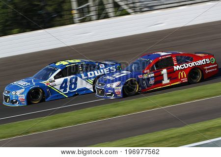 July 23, 2017 - Speedway, IN, USA: Jimmie Johnson (48) and Jamie McMurray (1) battle for position during the Brantley Gilbert Big Machine Brickyard 400 at Indianapolis Motor Speedway in Speedway, IN.