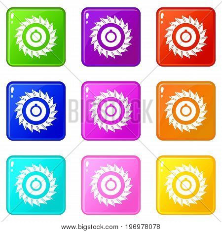 Circular saw disk icons of 9 color set isolated vector illustration