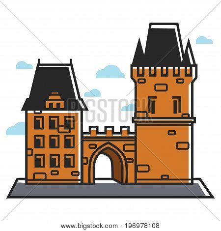 Ancient castle in Prague Czech Republic. Tourist travel attraction and Czech culture or architecture landmark symbol. Vector isolated outline icon
