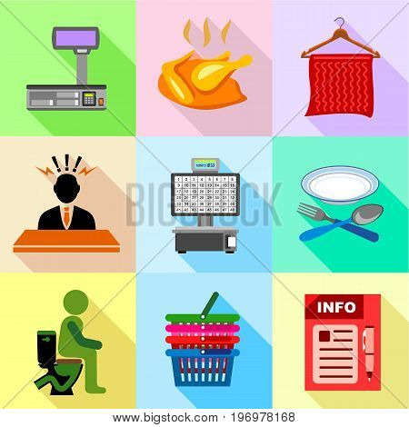 Supermarket promotion icons set. Flat set of 9 supermarket promotion vector icons for web with long shadow